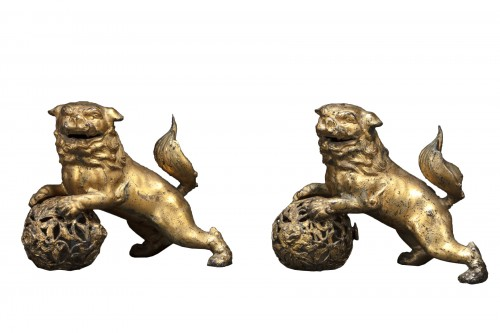 Pair Of Pho Dogs In Gilt Bronze