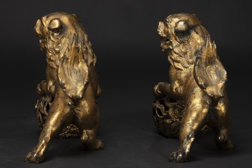 Asian Works of Art  - Pair Of Pho Dogs In Gilt Bronze