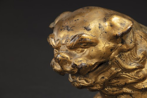 Pair Of Pho Dogs In Gilt Bronze -