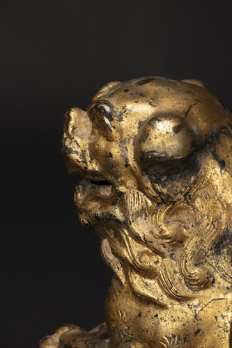 - Pair Of Pho Dogs In Gilt Bronze