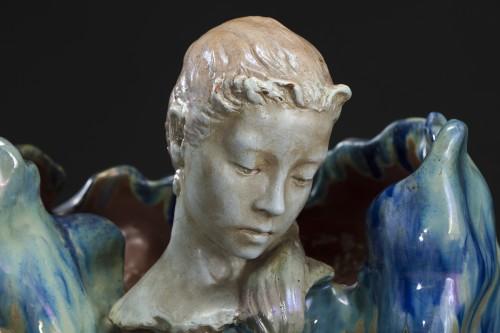 1900s Plant Shaped Vase With Head Of A Faun - Porcelain & Faience Style Art nouveau