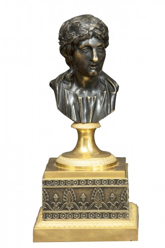 Inkwell In Gilt Bronze And Burnished