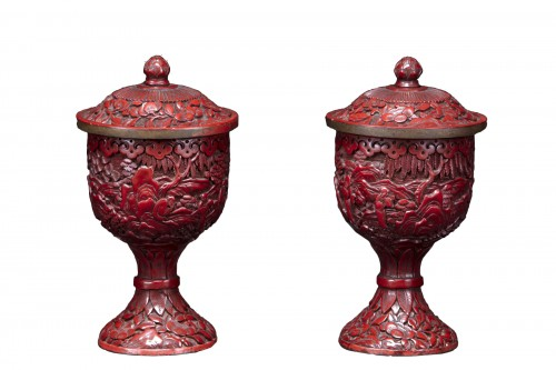 Pair Of Cinnabar Red Lacquer Bowls