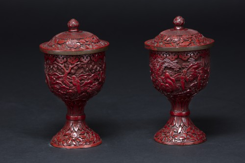 Pair Of Cinnabar Red Lacquer Bowls - Asian Works of Art Style