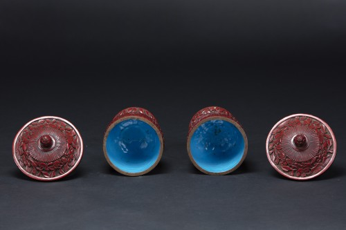Asian Works of Art  - Pair Of Cinnabar Red Lacquer Bowls