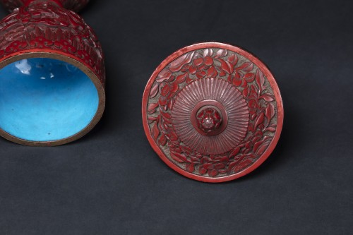 Pair Of Cinnabar Red Lacquer Bowls -
