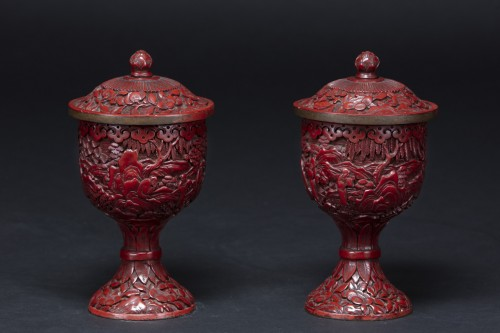 19th century - Pair Of Cinnabar Red Lacquer Bowls