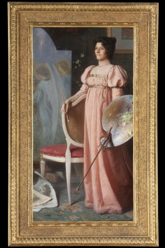 19th century - Portrait of woman  by Angelo Vernazza