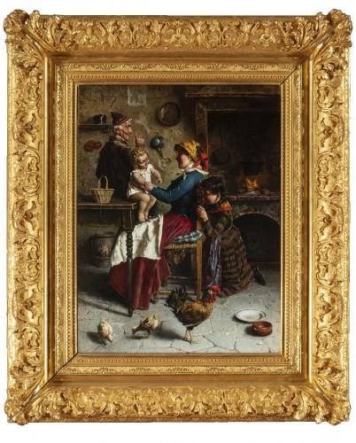 Domestic scene - Eugenio Zampighi (1859-1944)