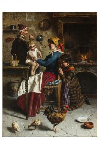 Domestic scene - Eugenio Zampighi (1859-1944) - Paintings & Drawings Style Napoléon III