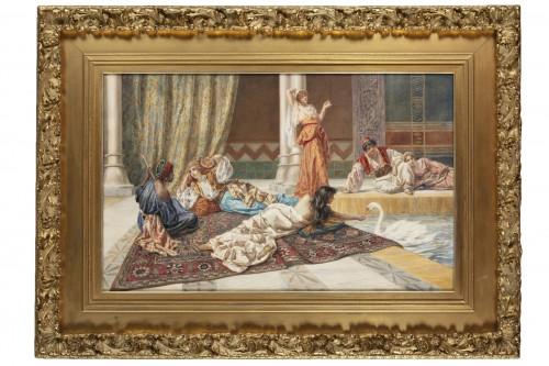 Orientalist watercolor by Pietro Gabrini (1856-1926)