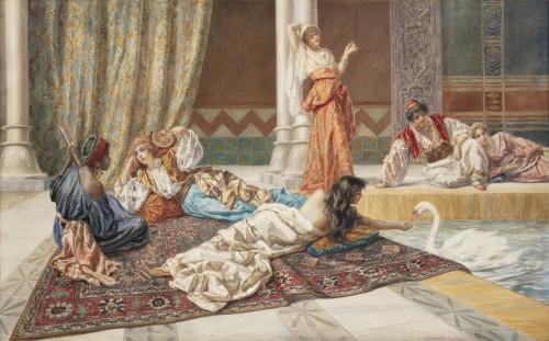 Orientalist watercolor by Pietro Gabrini (1856-1926) - Paintings & Drawings Style Napoléon III