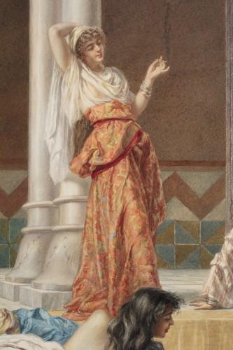 Paintings & Drawings  - Orientalist watercolor by Pietro Gabrini (1856-1926)