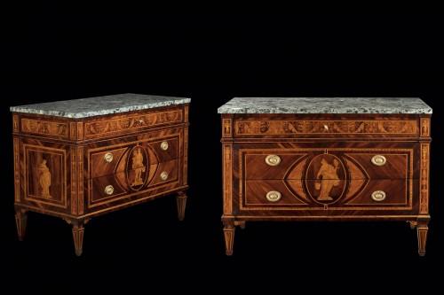 Furniture  - Pair of Lombard coffers Louis XVI