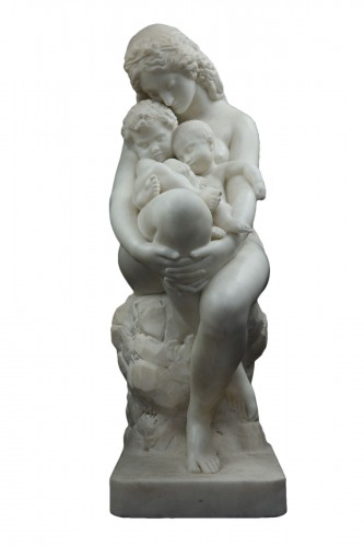Late 19th century marble depicting Eve embracing her two young boys