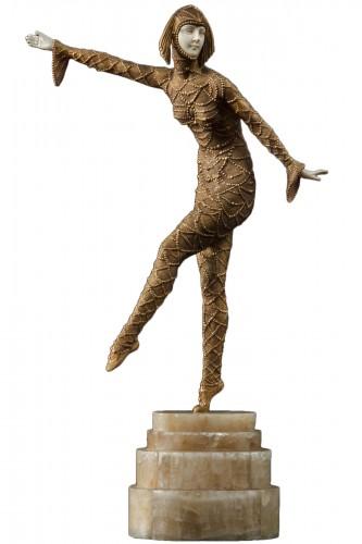 """Demeter Chiparus (1886-1947) - Dancer """"Solo"""", chryséléphantine"""