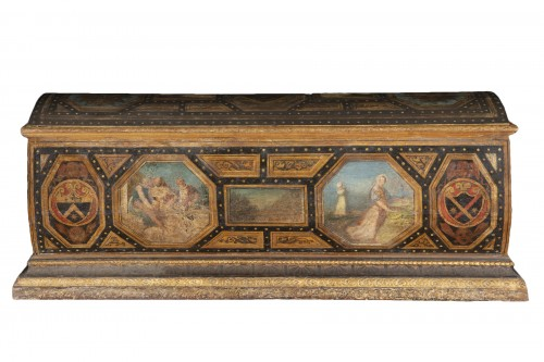 Polychrome Lacquered Wood Wedding Chest