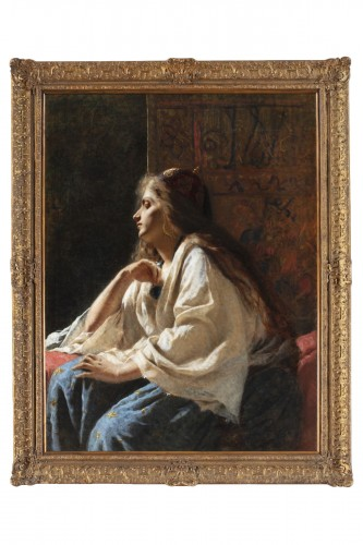 Painting oil on canvas depicting a western girl dressed as Odalisque