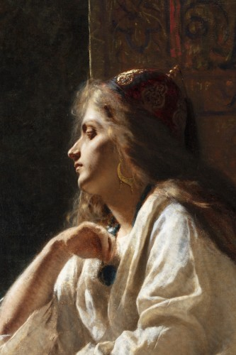 Paintings & Drawings  - Painting oil on canvas depicting a western girl dressed as Odalisque