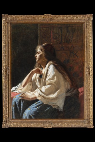 Painting oil on canvas depicting a western girl dressed as Odalisque  -