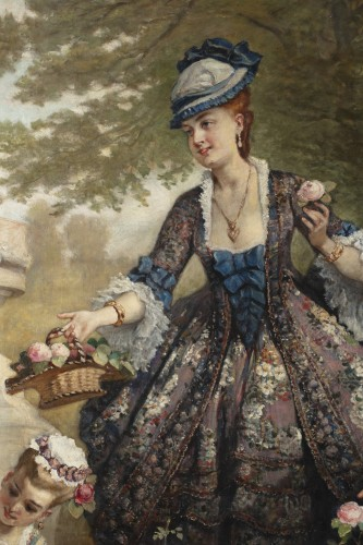 """Monumental painting """"Arranging the flowers 1870"""" by Cesare dell'Acqua - Paintings & Drawings Style Napoléon III"""