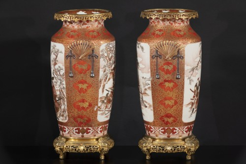 Antiquités - Pair of Japanese porcelain vases from the Meiji period