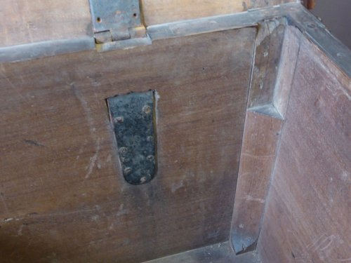 Large wedding chest of the late XVIIth century -