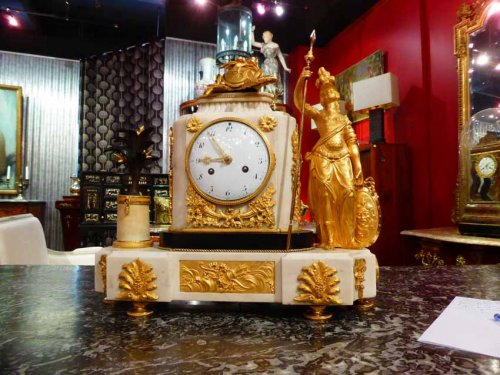 A French Louis XVI period figural mantel clock