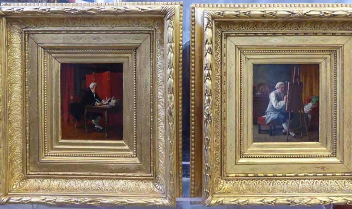 paire de tableaux xixe le peintre et l 39 crivain. Black Bedroom Furniture Sets. Home Design Ideas