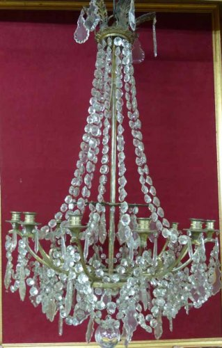 French Empire period Bronze and crystal chandelier, XIXth century