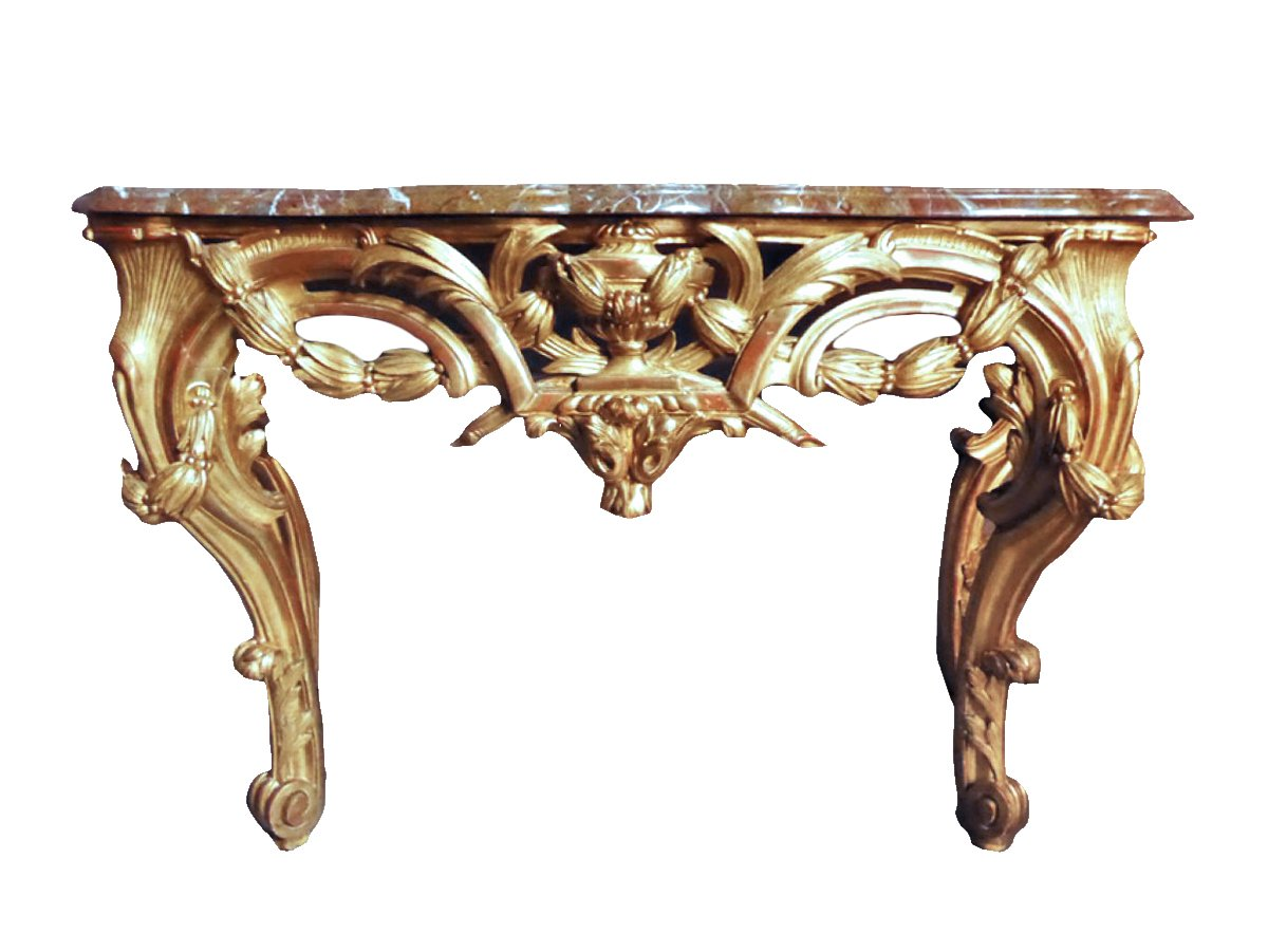 console en bois dor poque louis xv xviiie si cle. Black Bedroom Furniture Sets. Home Design Ideas