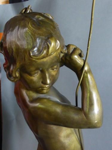 Francois Louis Virieux - Child with raised arm - Sculpture Style Napoléon III