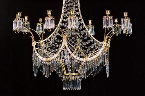"Lustre ""pagode"" - Manufacture Werner & Mieth fin du XVIIIe siècle - Luminaires Style Louis XVI"