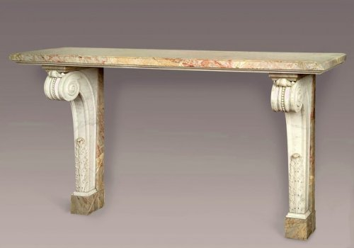 White and sarancolin marble console - early 19th century - Furniture Style