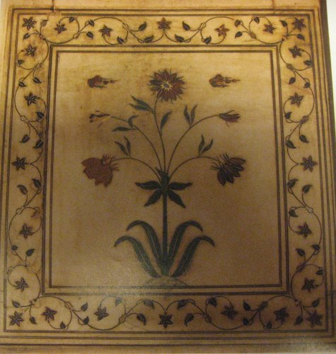 Furniture  - Table marble marquetry on its wooden foot imitation porphyry. XIXth century