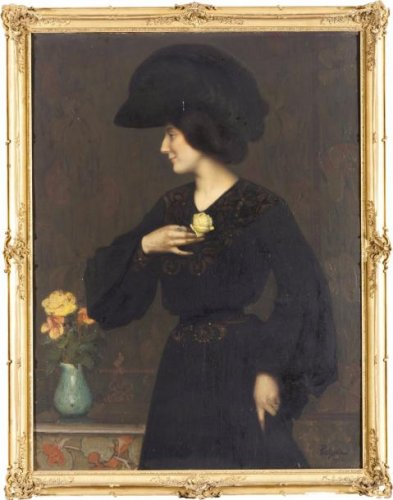 Elegant with white rose signed Poetzsch ( 1870-1950) dated 1902