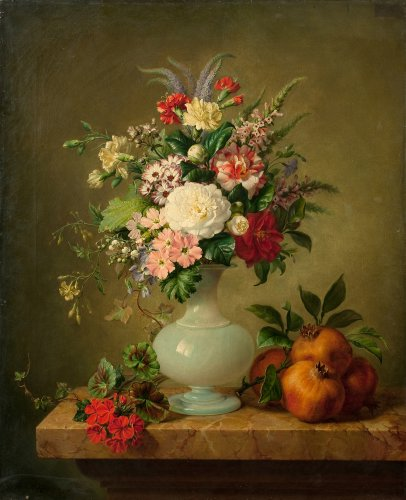 Bunch of flowers with an opaline vase signed  Revol  ( 1815-1872)