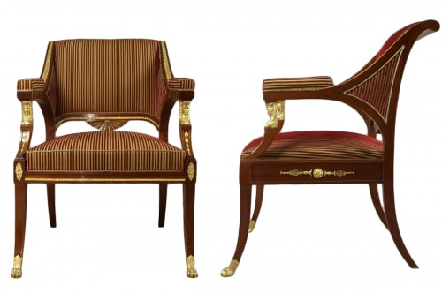 Pair of suedish armchairs by Ephraim Sthal - First half of 19th century