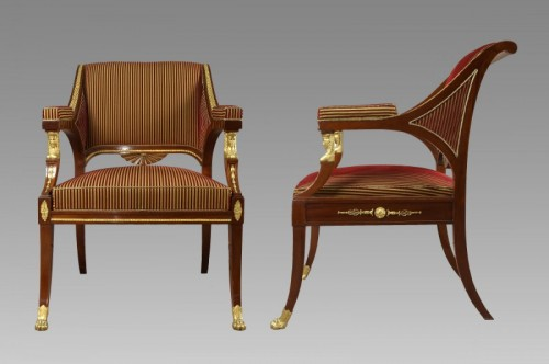 Pair of suedish armchairs by Ephraim Sthal - First half of 19th century - Seating Style