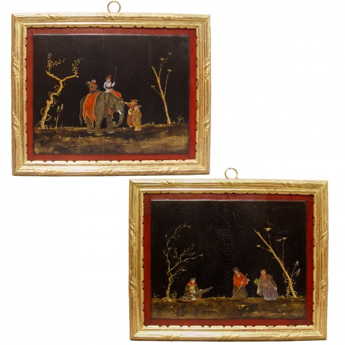 Pair of lacquered pannels - China - XVIIIth century