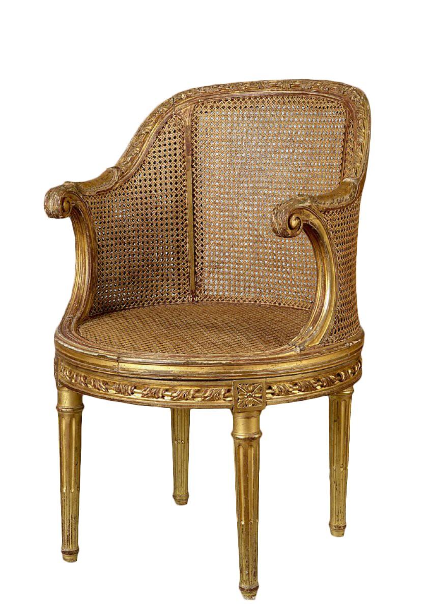 fauteuil de bureau en bois dor estampill l delanois poque louis xvi xviiie si cle. Black Bedroom Furniture Sets. Home Design Ideas