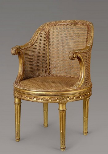 armchair gilded wood stamped L. Delanois Louis XVI - Seating Style Louis XVI