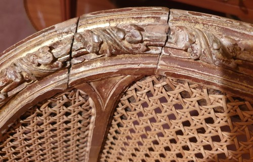 Seating  -  armchair gilded wood stamped L. Delanois Louis XVI