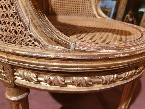 18th century -  armchair gilded wood stamped L. Delanois Louis XVI