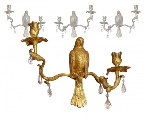 Set of four sconces in golden lead with parrots and rock cristal - Louis XV