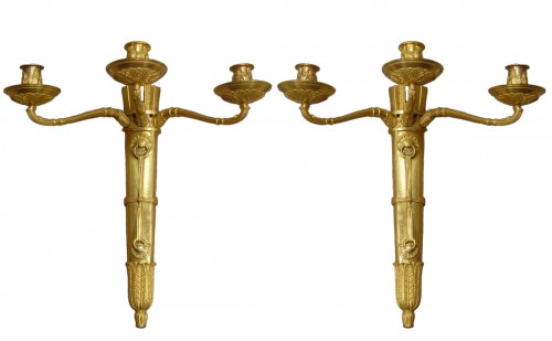 Pair of gilt bronze sconces - Empire Period