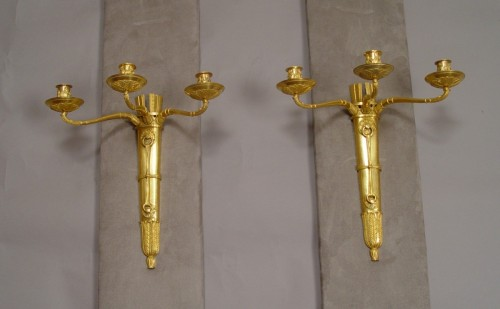 Lighting  - Pair of gilt bronze sconces - Empire Period