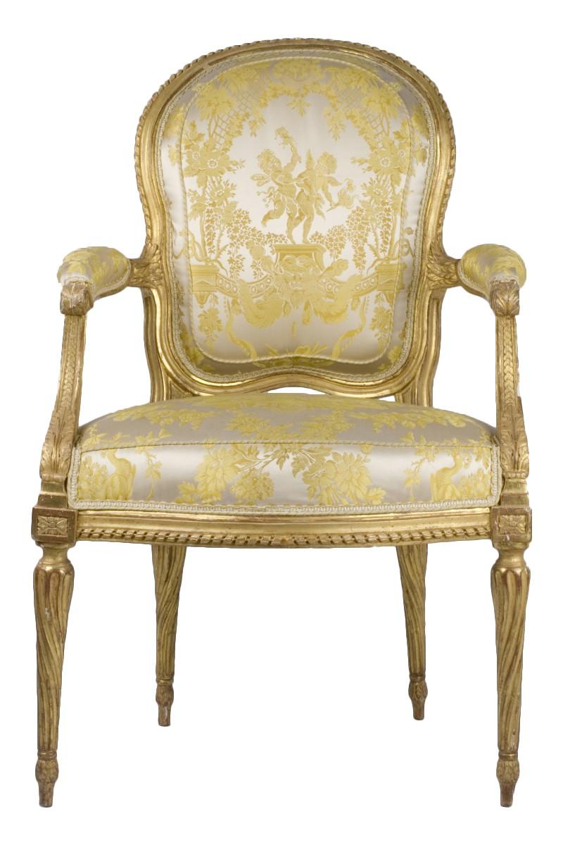Set Of Six Gilt Wood Armchairs Stamped Ph. Poirié