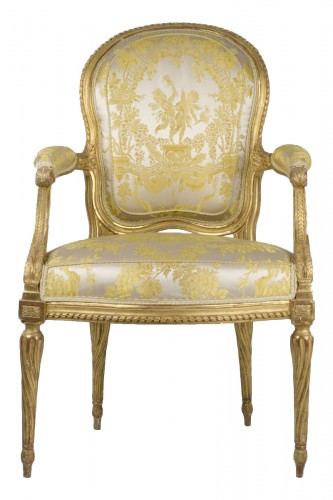 Set of six gilt wood armchairs stamped Ph. Poirié