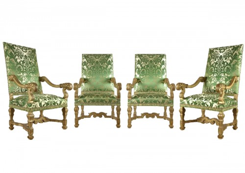 very rare and important suite of four armchairs louis XIV period